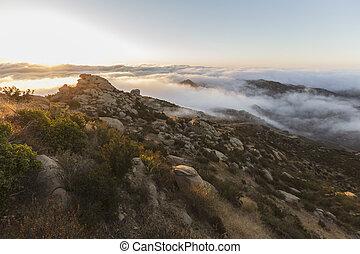 雲, 岩が多い, 公園, アンジェルという名前の人たち, los, カリフォルニア, ピークに達しなさい, 日の出