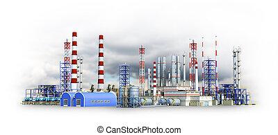 雲, 工場, イラスト, 大きい, smoke., 黒い背景, 3d