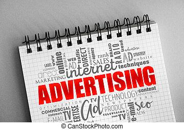 雲, 広告, 概念, 創造的, 単語
