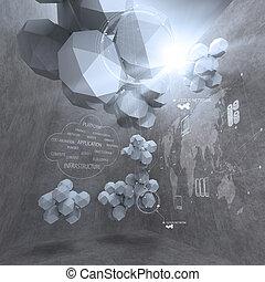雲, 抽象的, 低い, ネットワーキング, 多角形, コンピュータ, デザイン, 3d