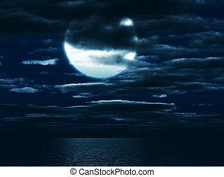 雲, 暗闇, 空, 光をあてられた, 月, 背景, 円, 海