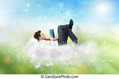 雲, 概念, 本, 上に, 読む, 作られた, リラックスしなさい, letters., ビジネスマン, 想像力