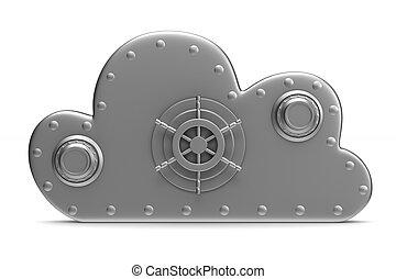 雲, 由于, 鎖, 在懷特上, 背景。, 被隔离, 3d, 圖像