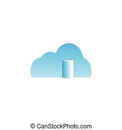 雲, 由于, 門打開, 樣板, 矢量