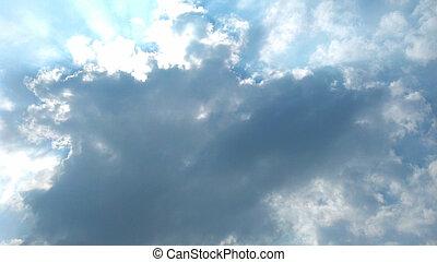 雲, 空, 嵐, 背景