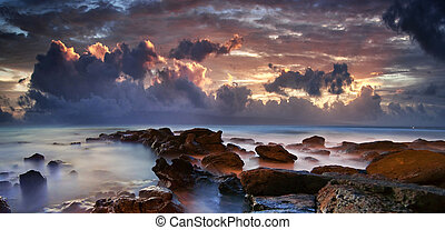 雲, 紫色, 海洋, 暗い, 劇的, 海