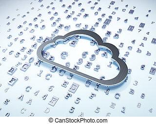 雲, 聯网, concept:, 銀, 雲, 上, 數字的背景