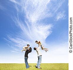 雲, 草, 背景, 家族, 幸せ