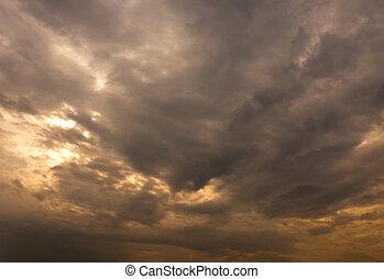 雲, 覆われた, 空, thunder-storm, 憂うつである, 持ちなさい, 前に