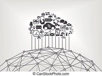 雲, 計算, 自動車, 接続される