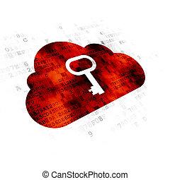 雲, 計算, concept:, 雲, ∥で∥, キー, 上に, デジタルバックグラウンド