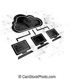 雲, 計算, concept:, 雲, ネットワーク, 上に, デジタルバックグラウンド