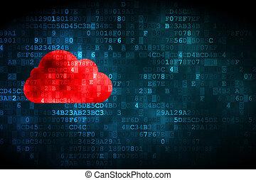 雲, 計算, concept:, 雲, 上に, デジタルバックグラウンド