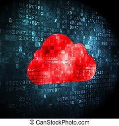 雲, 計算, concept:, 雲, 上, 數字的背景