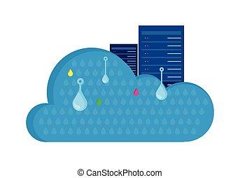 雲, 貯蔵, デザイン, 平ら, concept., セービング, インフォメーション