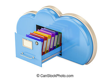 雲, 貯蔵, 概念, 3d, レンダリング