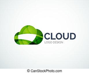 雲, 貯蔵, logotype, セット, 平ら, デザイン
