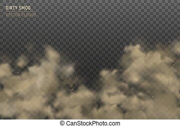 雲, 透明, 現実的, スモッグ