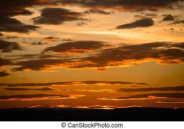 雲, 金, 空, なしで, 日没, 太陽