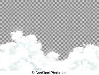 雲, 隔離された, バックグラウンド。, ベクトル, 透明, 株