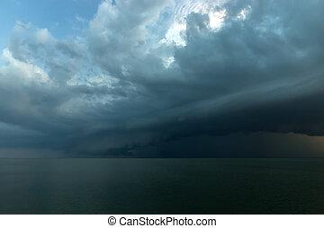 雲, 雨, ありなさい, 落ちる, ∥, sea.
