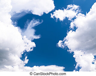 雲, 青, 白, sky., 背景