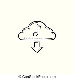 雲, 音樂, 概念, 手, 畫, outline, 心不在焉地亂寫亂畫, icon.