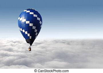 雲, balloon, 飛行, 空気, 暑い, 上に