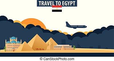 雲, banner., 太陽, 旅行, egypt., バックグラウンド。, 飛行機, 観光事業