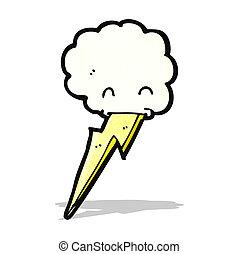 雲,  lighning, 卡通, 吐口水, 螺栓