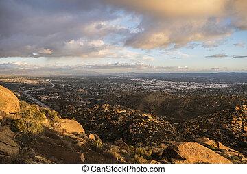 雲, san, 区域, fernanado, アンジェルという名前の人たち, los, カリフォルニア, 嵐, 回転, 谷