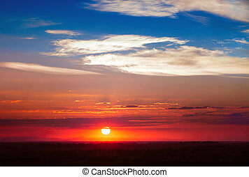 雲, spindrift, 太陽, 空, 劇的, 日没