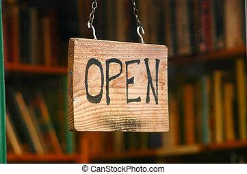 零售, 以及, 購物, 圖像, ......的, an, 打開標志, 在, a, 書店, 窗口