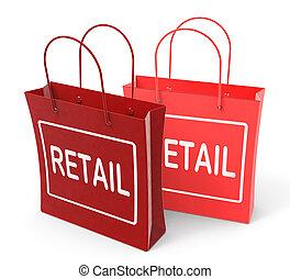 零售, 袋子, 显示, 商业, 销售, 同时,, 商业