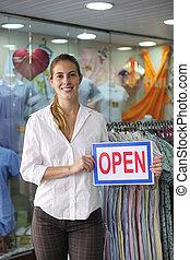 零售, business:, 商店, 所有者, 带, 敞开的征候
