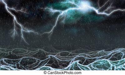 雷雨, 中に, ∥, 海