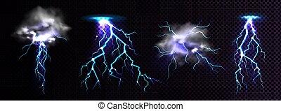 雷雲, 攻撃する, 影響, 場所, 稲光
