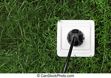 電力, 緑の背景, 草, 容器