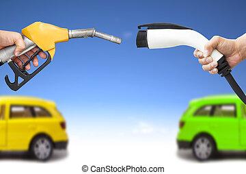 電力, 自動車, concept., ガソリン, 手, コネクター, ポンプ, 保有物, ガス, 燃料補給しなさい