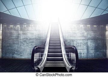 電動扶梯, 樓梯, 以及, 出口, 對光