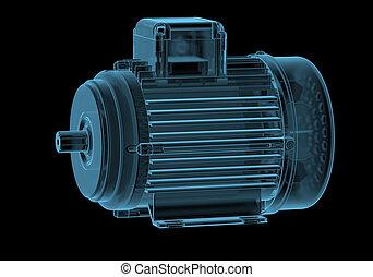 電動机, 由于, internals, x光, 藍色, 透明, 被隔离, 上, 黑色