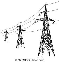 電圧, シルエット, 高く, lines., 力