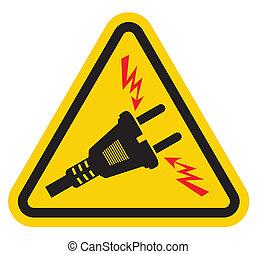 電圧, 印, 警告, 高く