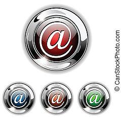電子メール, アイコン, ボタン, ベクトル, illustr