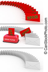 電子メール, スパムフィルター, 3d, 概念