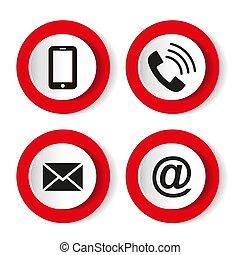 電子メール, セット, モビール, 封筒, -, icons., 連絡, ボタン, ベクトル, イラスト, 電話