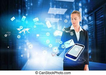 電子メール, ブロンド, 感動的である, 女性実業家