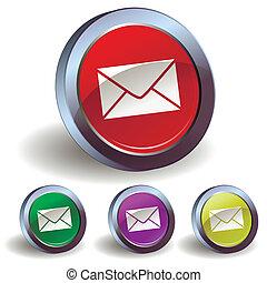 電子メール, ボタン, アイコン