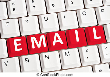 電子メール, 単語, 上に, キーボード