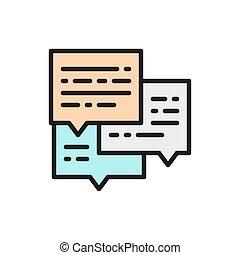 電子メール, 平ら, icon., メッセージ, 色, ビジネス, 会話
